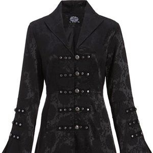 Jackets & Blazers - Black Brocade Gothic Steampunk Floral Jacket - NWT
